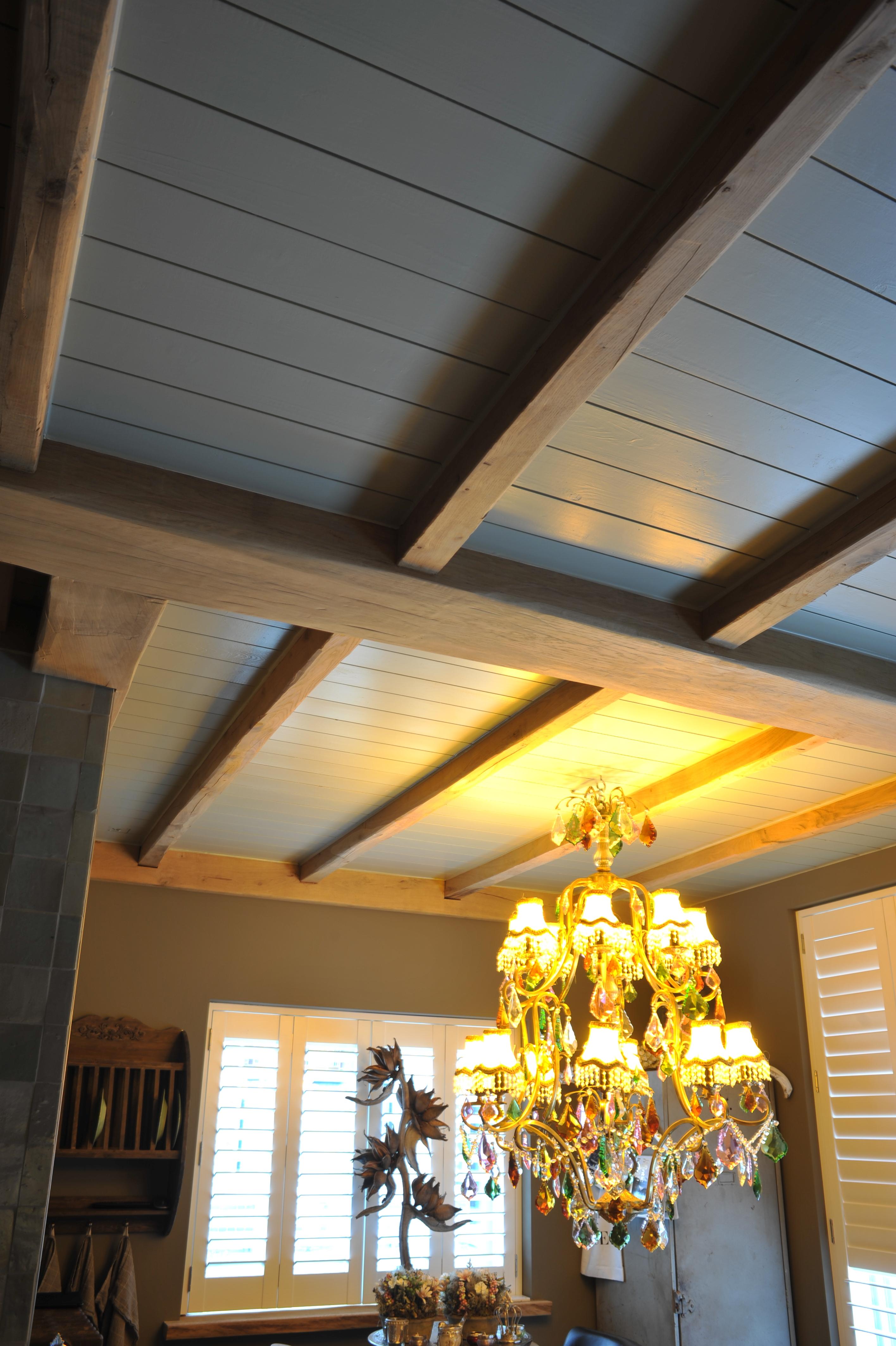 Balkenplafonds van hout, Houten balken plafonds voor keuken en woonkamer